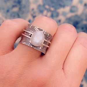 Spinner Ring Moonstone Sterling Silver Wide Band